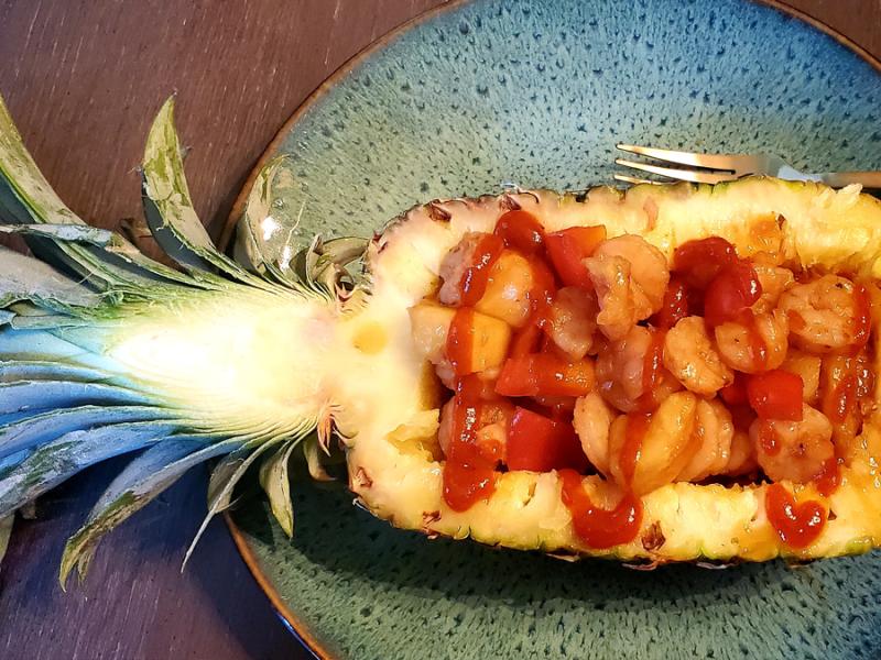 Pineapple Shrimp in a Pineapple Boat Prepared for Johnny Tsunami Date Night